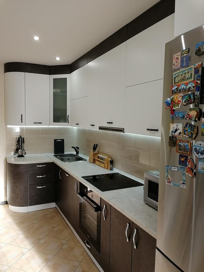 Комбинированные кухни-Кухня МДФ в ПВХ «Модель 27»-фото1