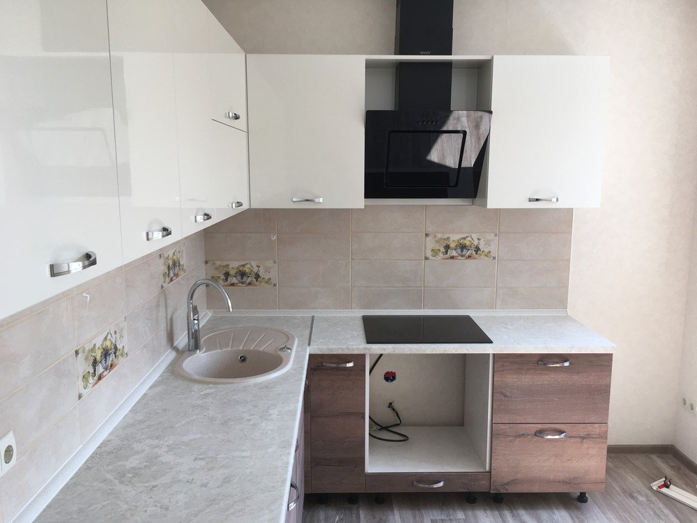 Белый кухонный гарнитур-Кухня МДФ в шпоне «Модель 318»-фото3
