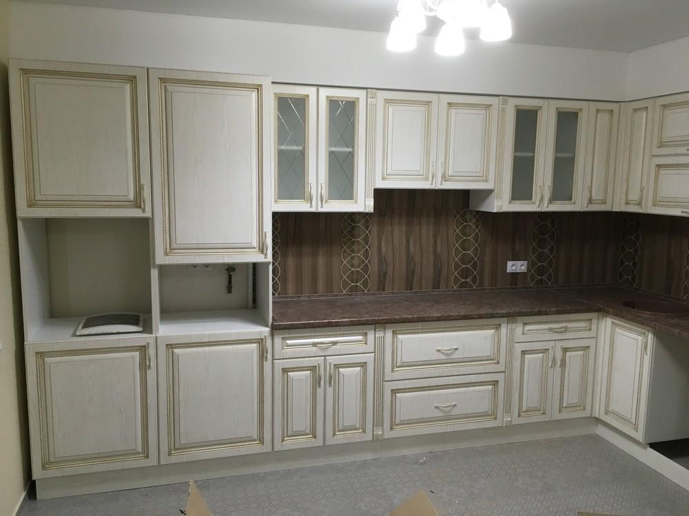 Белый кухонный гарнитур-Кухня МДФ в ПВХ «Модель 322»-фото1