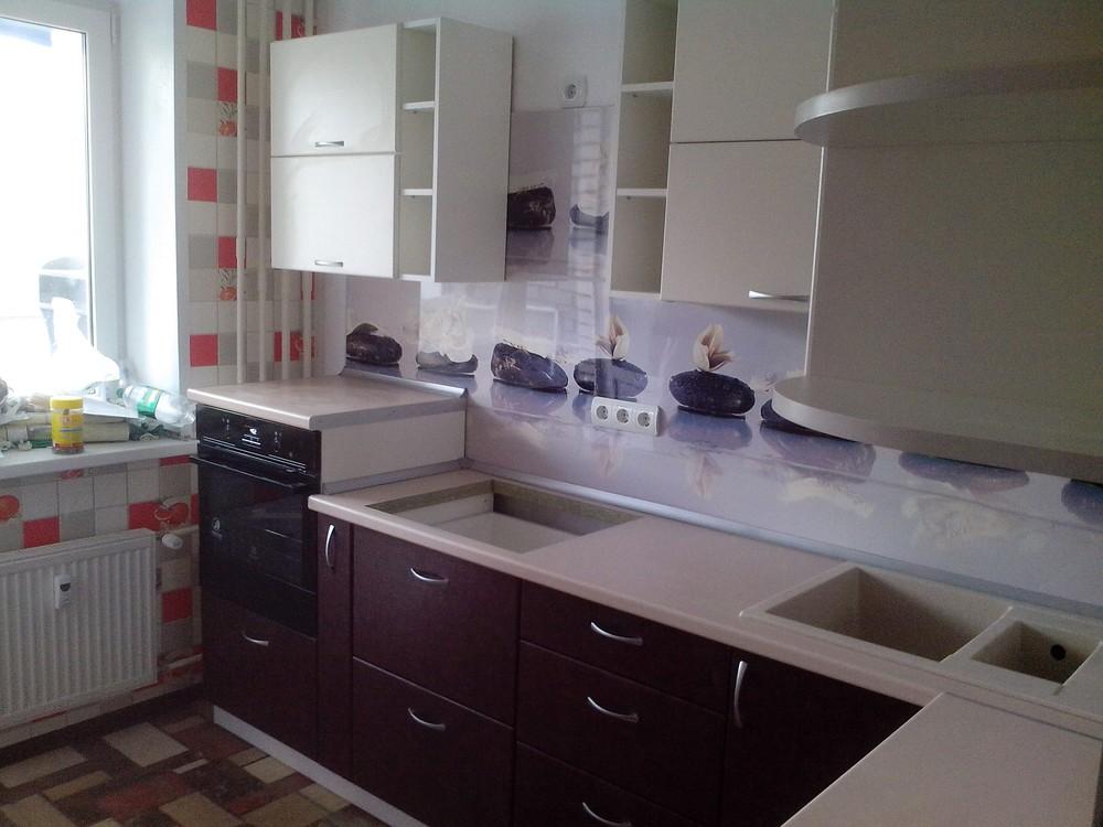 Белый кухонный гарнитур-Кухня МДФ в ПВХ «Модель 327»-фото1