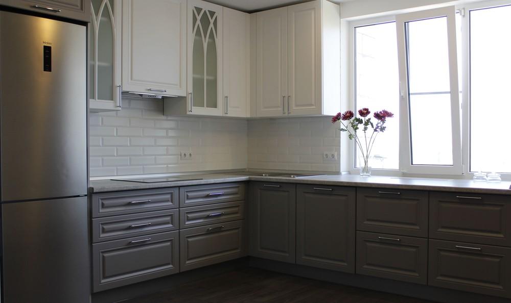 Белый кухонный гарнитур-Кухня МДФ в ПВХ «Модель 324»-фото1