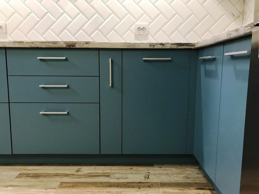 Купить голубую кухню-Кухня из пластика «Модель 373»-фото4