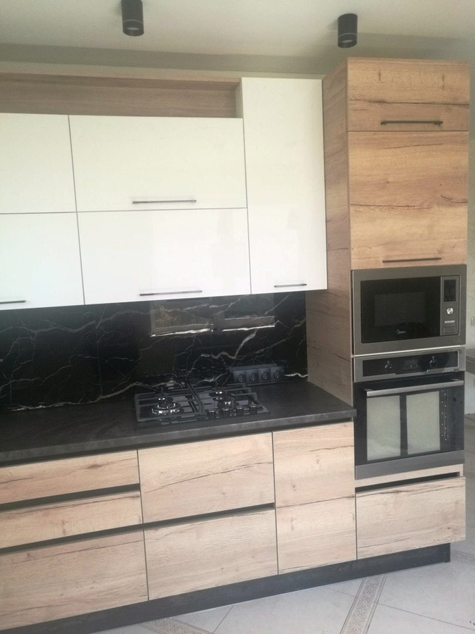 Белый кухонный гарнитур-Кухня из акрила «Модель 386»-фото2
