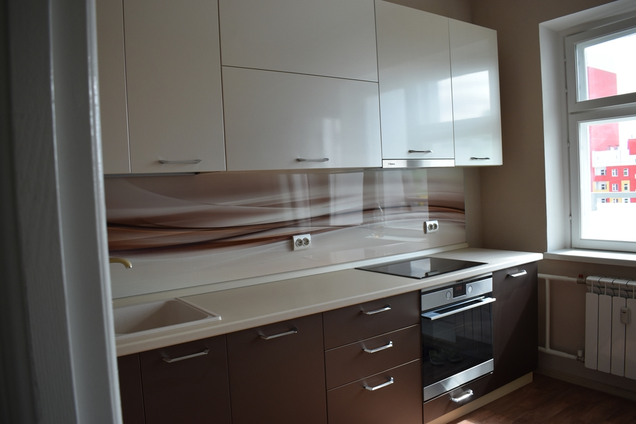 Белый кухонный гарнитур-Кухня МДФ в ПВХ «Модель 504»-фото1