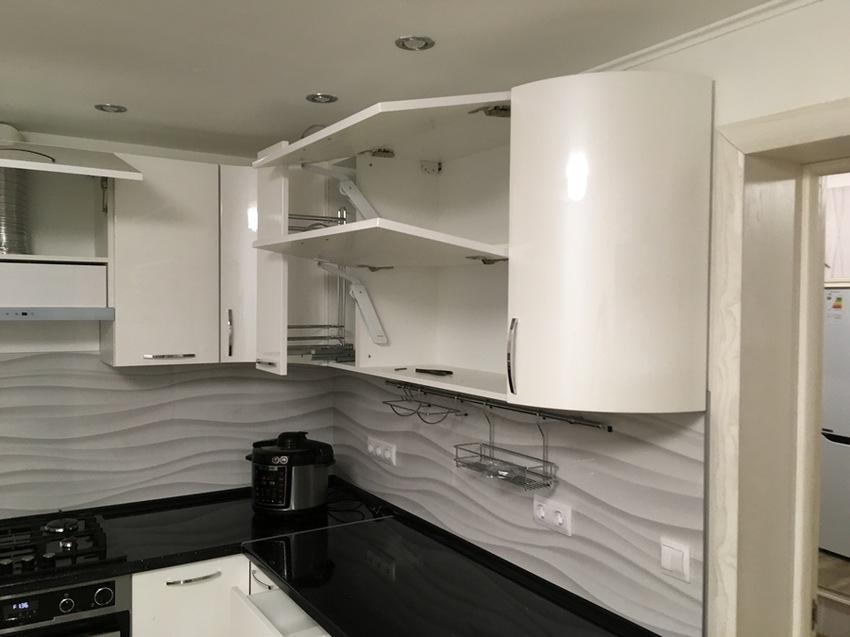 Белый кухонный гарнитур-Кухня МДФ в эмали «Модель 472»-фото8
