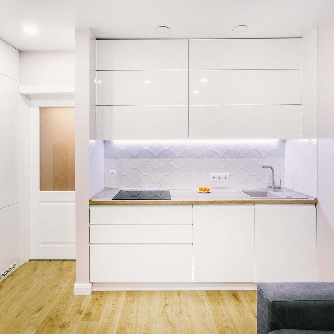 Белый кухонный гарнитур-Кухня МДФ в эмали «Модель 604»-фото1