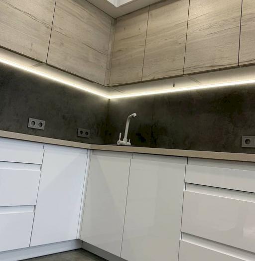 Белый кухонный гарнитур-Кухня МДФ в эмали «Модель 670»-фото8